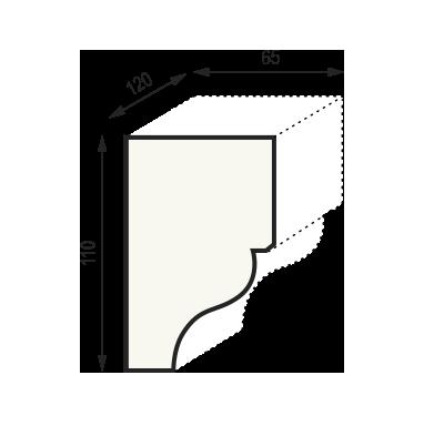 Сечение консоли КМ12 (110 x 65 x 120 мм)